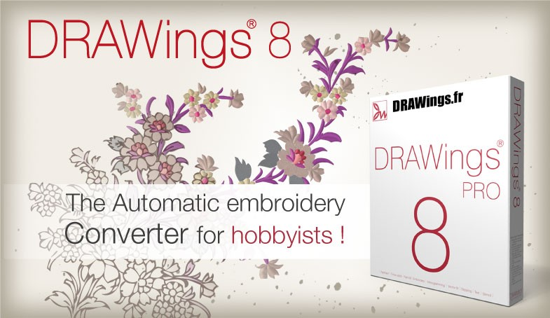 Digitizing Embroidery Software Drawings 8 PRO. Convert any design in dst, hus, pes, vip, art format. Compatible with Tajima, Barudan, Singer, Pfaff, Husqvarna machines.